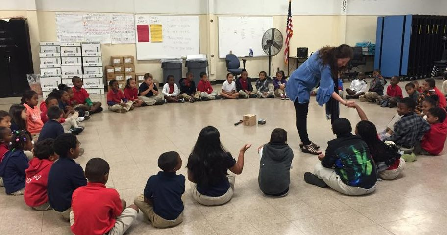 "DiGioia with student ""Circles"" at PS7 - (c) Dee DiGioia, Mindful Kindful YOUniversity"